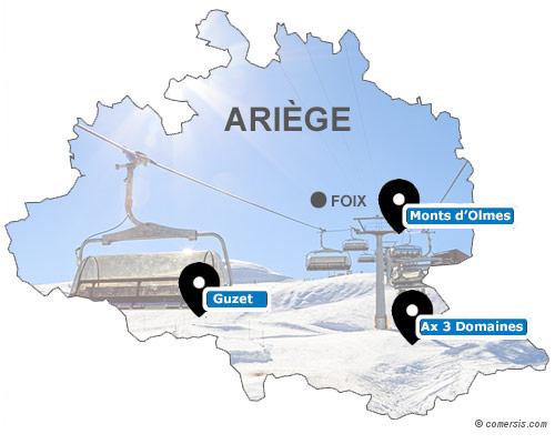 Carte des stations de ski de l'Ariège (09)