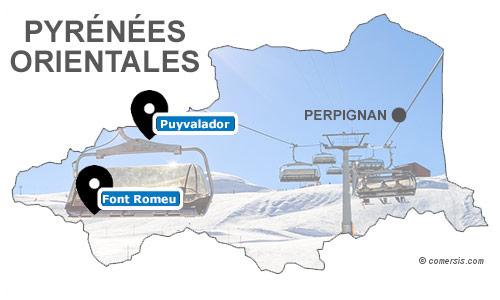 Carte des stations de ski des Pyrénées Orientales (66)