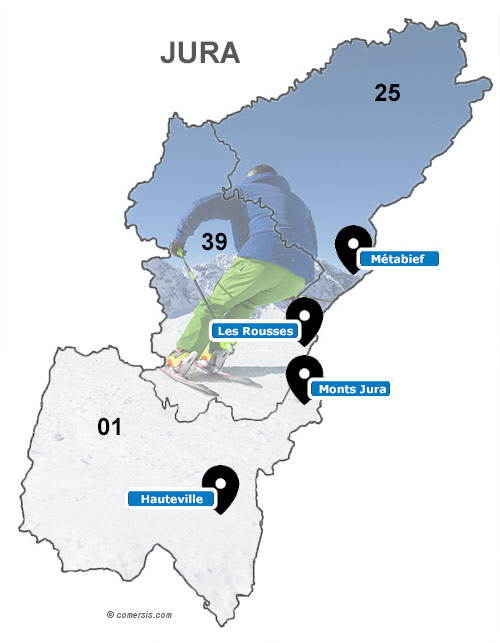 Carte des stations de ski du Jura