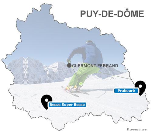 Carte des stations de ski du Puy de Dôme (63)