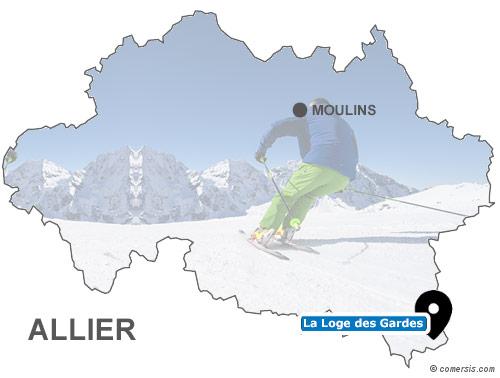 Carte des stations de ski de l'Allier (03)