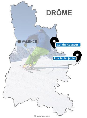 Carte des stations de ski de la Drôme (26)