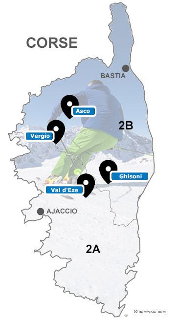 Carte des stations de ski de Corse