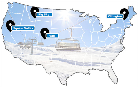 Carte des stations de ski des Etats-Unis/USA