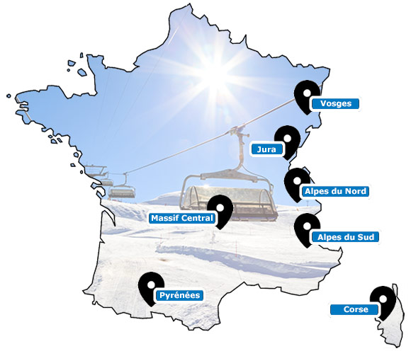 Carte des stations de ski de France