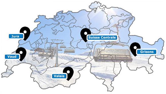 Carte des stations de ski de Suisse