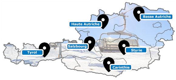 Carte des stations de ski d'Autriche