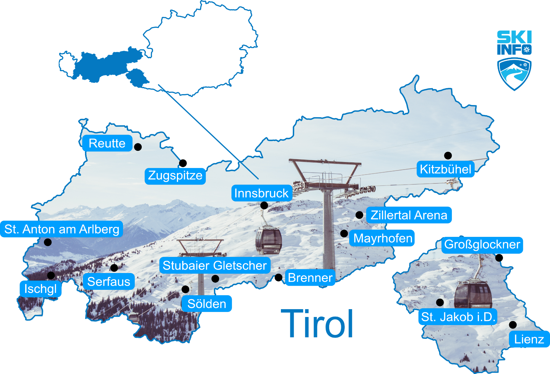 Carte des stations de ski du Tyrol