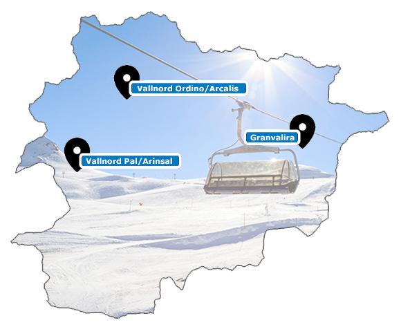 Carte des stations de ski d'Andorre