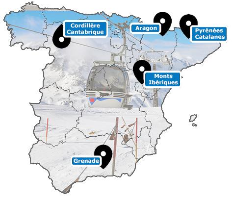 Carte des stations de ski d'Espagne