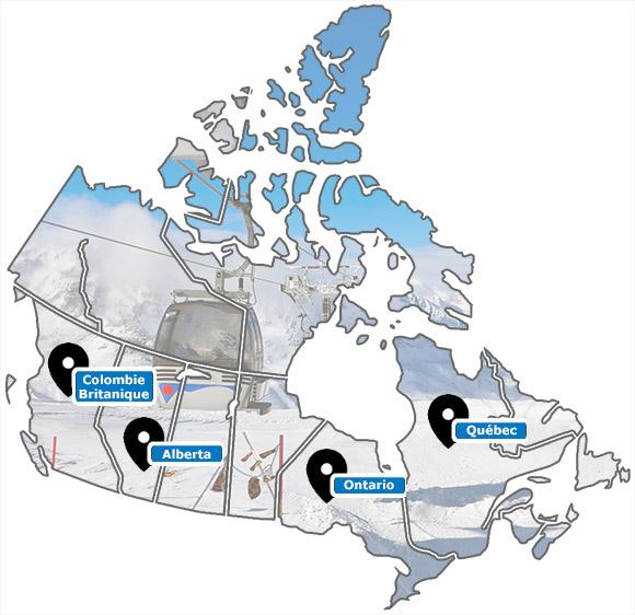 Carte des stations de ski du Canada