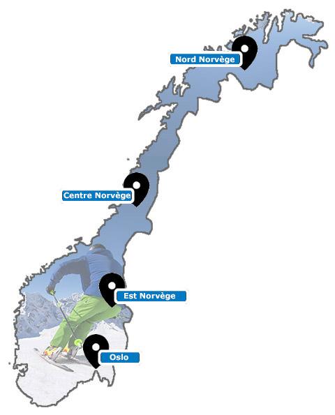 Carte des stations de ski de Norvège