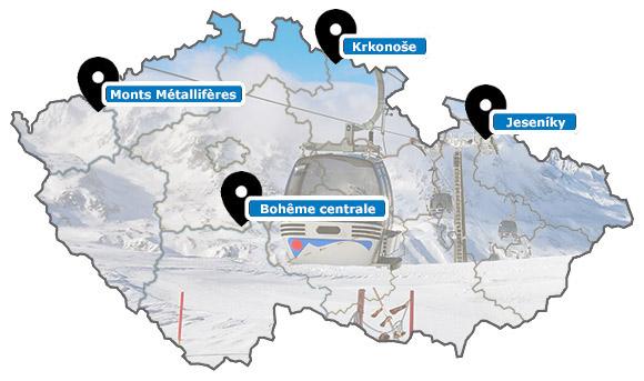 Carte des stations de ski de République Tchèque