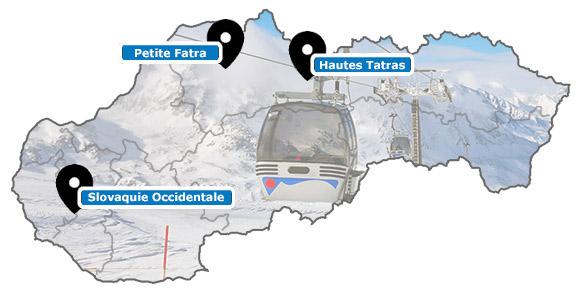 Carte des stations de ski de Slovaquie