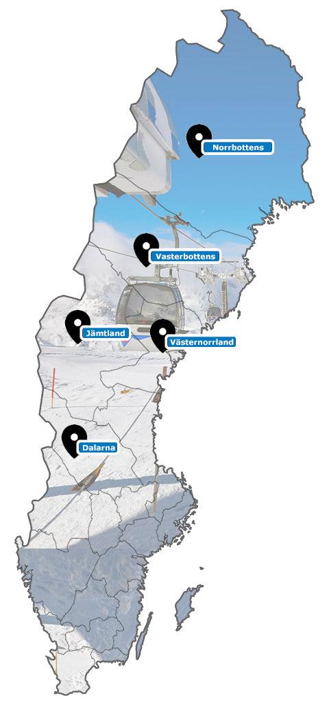 Carte des stations de ski de Suède