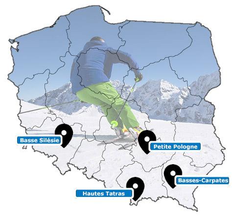 Carte des stations de ski de Pologne