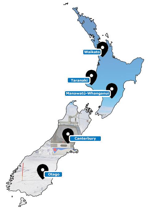 Carte des stations de ski de Nouvelle Zélande