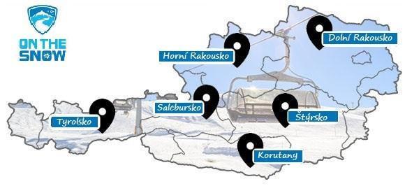 Mapa rakouských lyžařských středisek