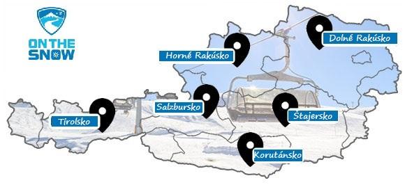 Mapa rakúskych lyžiarskych stredísk