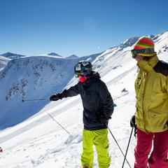 Mapping out some of the first turns ever taken on Breckenridge Peak 6. - © Breckenridge