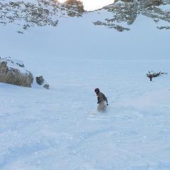 Boarding the unpisted terrain in La Grave  - © Gergely Csatari