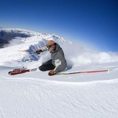 Skiing powder atop Treble Cone, NZ. - © Treble Cone/Ben Skinner