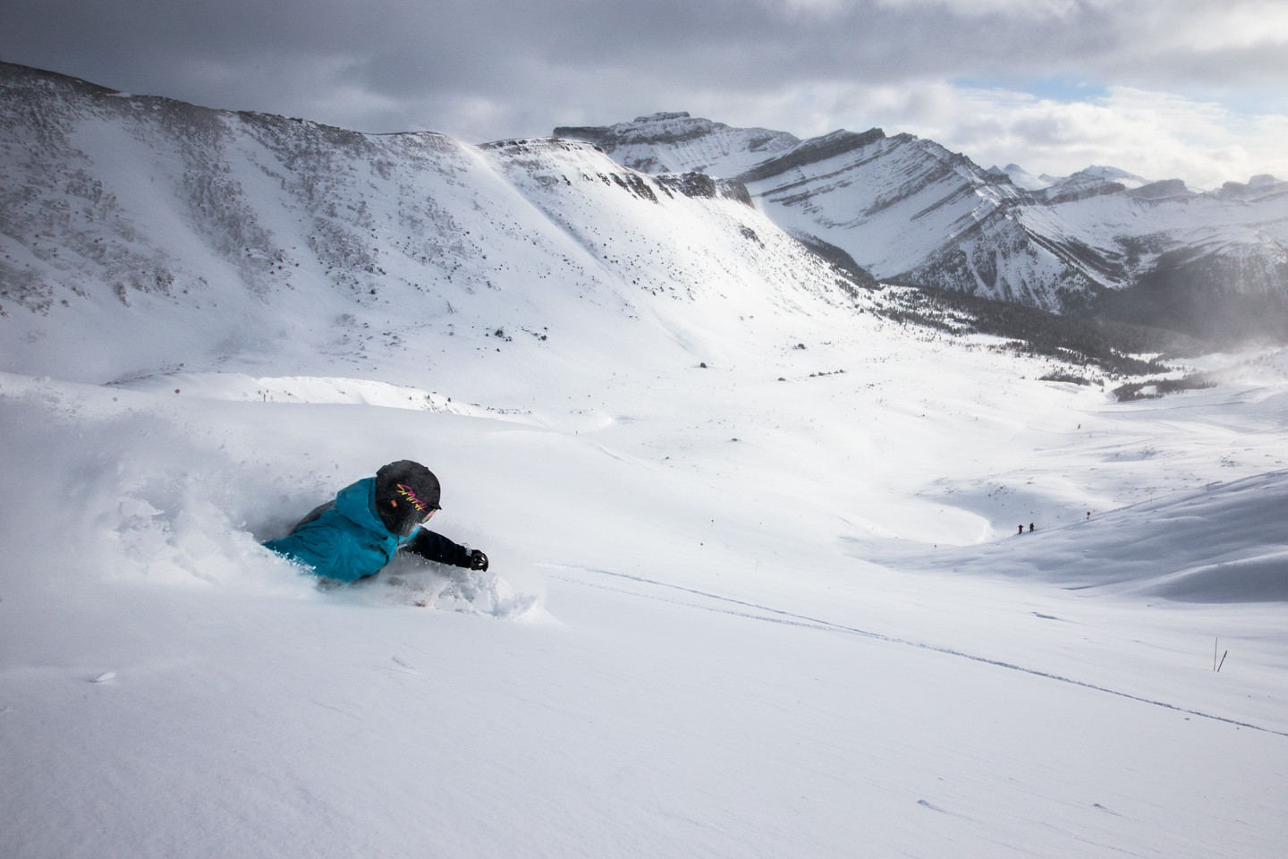 First tracks in Lake Louise's incredible back bowl terrain. Skier: Keegan Capel
