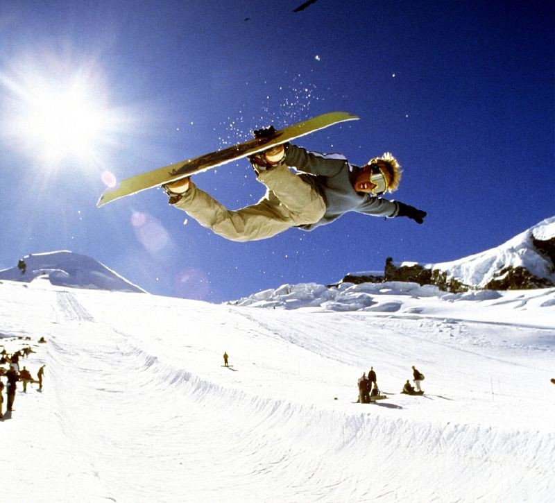 pe in Saas-Fee's snowpark, Switzerland.